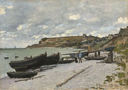 Monet, Claude: Sainte-Adresse, Fishing Boats on the Shore. Fine Art Print.  (003537)